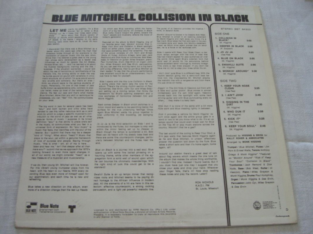 Blue Mitchell Swahilli Suite Collision In Black